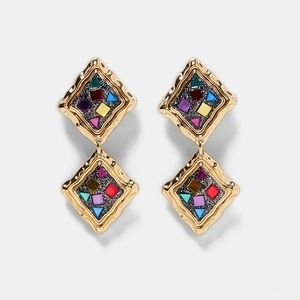 Zara Jewelry - Zara Colorful Mirror Pendant Clip-On Earrings